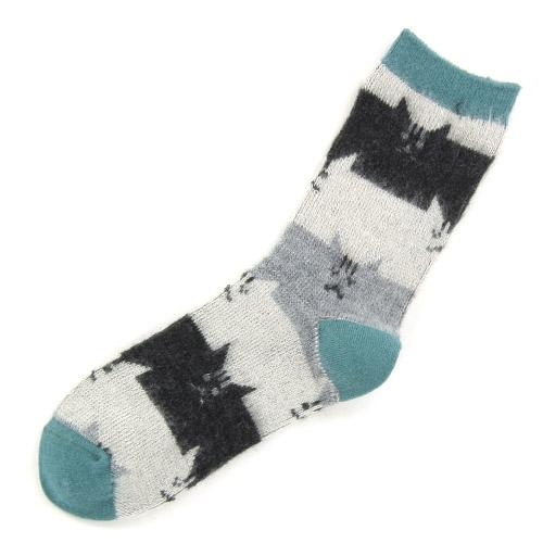 Brushed cat socks - Light green