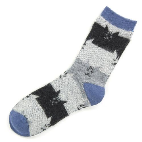 Brushed cat socks - Navy blue