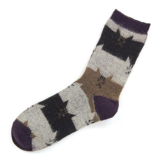 Cat's head pattern socks - purple