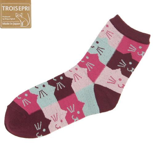 Cat's head pattern socks - Wine
