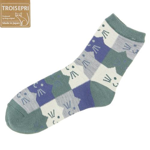 Cat's head pattern socks - Moss green