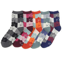 Cat's head pattern socks - Navy blue