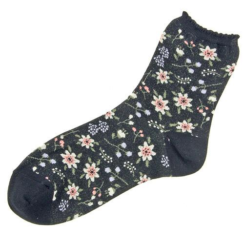 Flower pattern socks - black