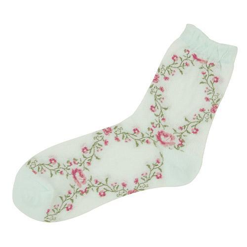 Mesh ivy rose pattern socks - mint green