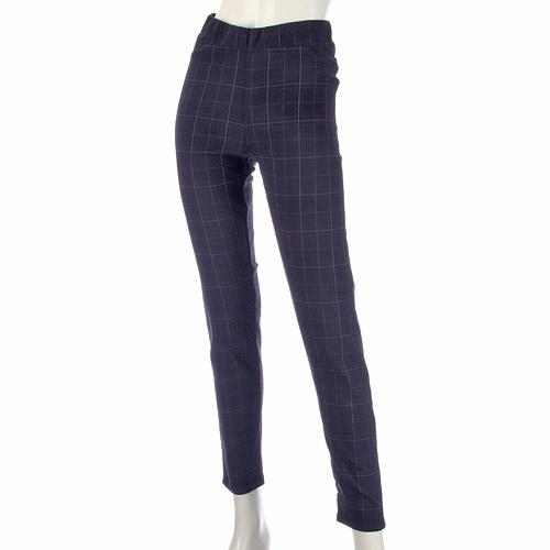 GUNZE check pattern brushed leggings - Navy blue M