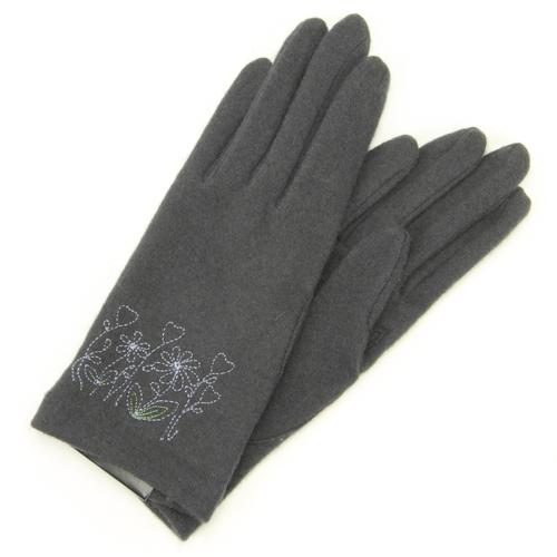 Flower embroidered jersey gloves - Charcoal grey