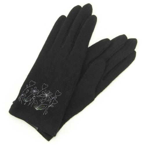 Flower embroidered jersey gloves - Black