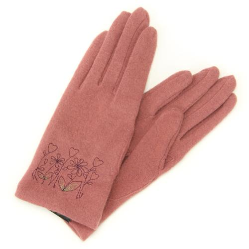 Flower embroidered jersey gloves - Pink