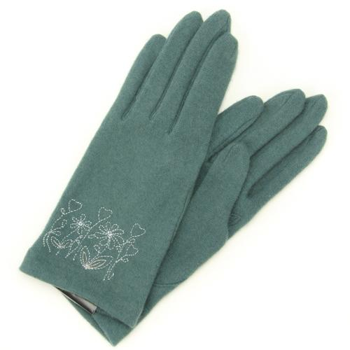 Flower embroidered jersey gloves - Green