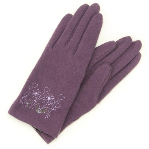 Flower embroidered jersey gloves - purple