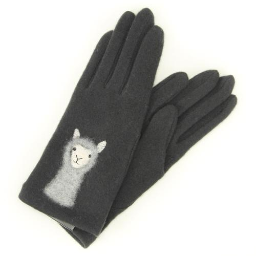 Alpaca pattern needle embroidery jersey gloves - Charcoal grey