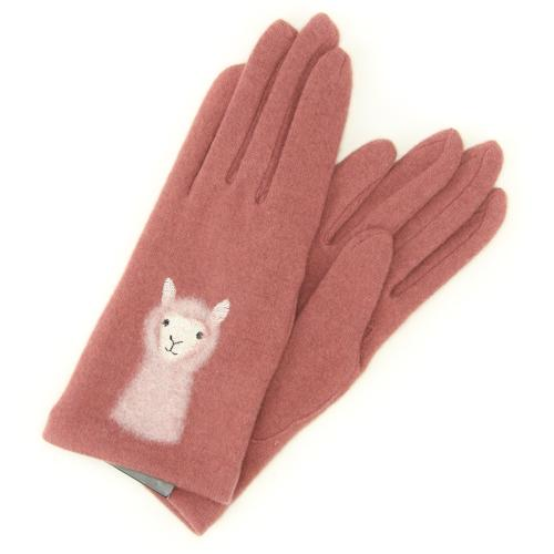 Alpaca pattern needle embroidery gloves - Pink