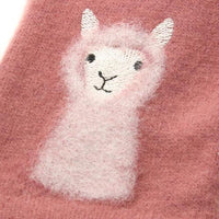 Alpaca pattern needle embroidery jersey gloves - Pink