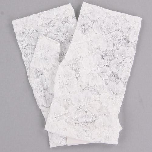 Fingerless lace glove Short length - White