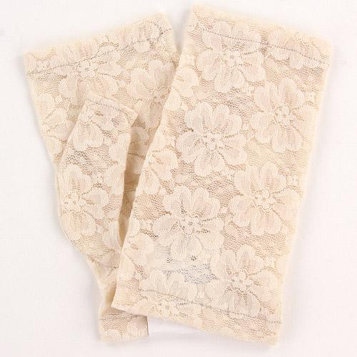 Fingerless lace glove Short length - Beige