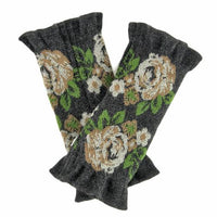 French made hand warmer big rose pattern - Charcoal x beige