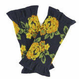 French made hand warmer big rose pattern - Navy x yellow