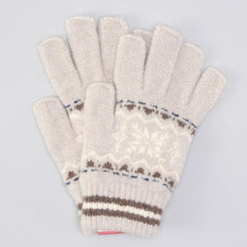 Out finger snow pattern knit gloves - Beige