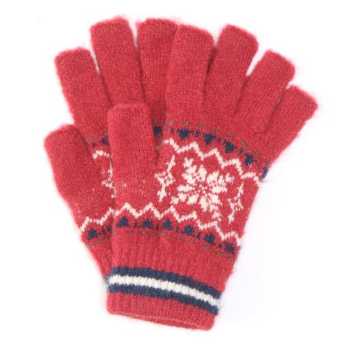 Out finger snow pattern knit gloves - Red