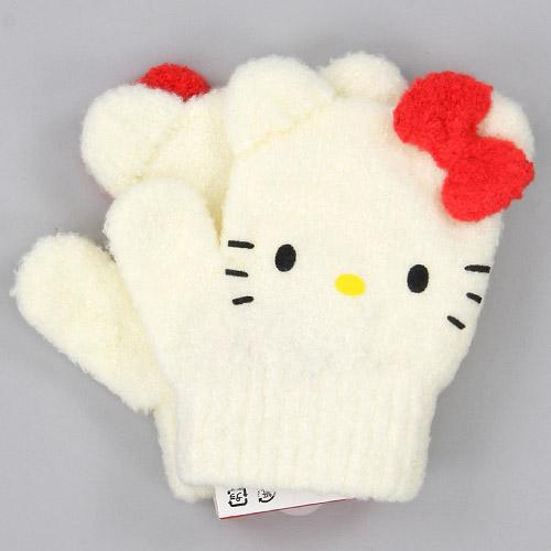 Toddler gloves Kitty mittens - White