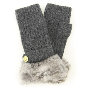 ELLE fur fingerless knit gloves - Charcoal grey