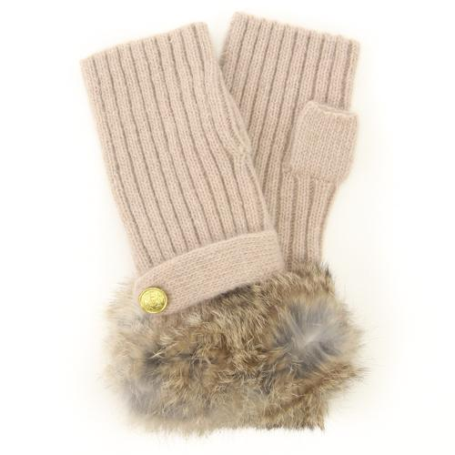 ELLE fur fingerless knit gloves - Beige