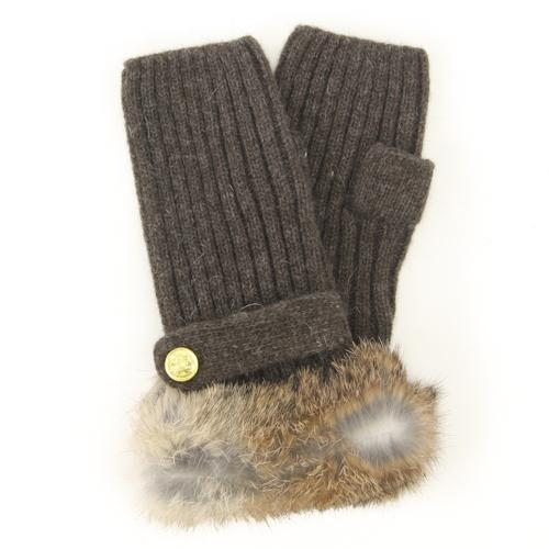 ELLE fur fingerless knit gloves - Dark brown