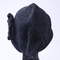 Knit hood cap with flowers - Black