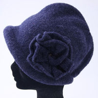 Knit hood cap with flowers - Blue