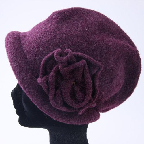 Knit hood cap with flowers - Purple