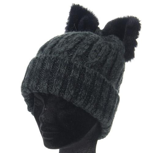 Cat ear-style ribbon hat - Black