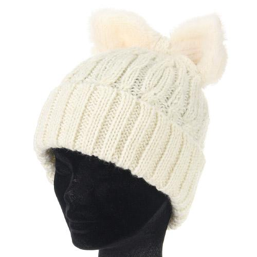 Cat ear-style ribbon hat - White