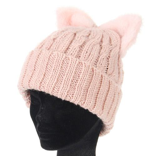 Cat ear-style ribbon hat - Pink