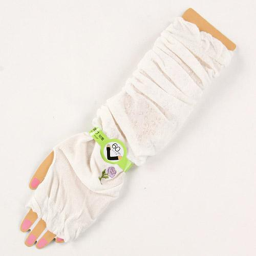Arm Cover with Embroidery Rose - White 827815