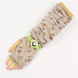 Arm Cover with Small Flower - Beige 827820
