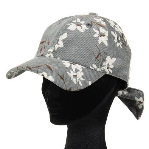 Corduroy Flower Pattern Cap - Grey