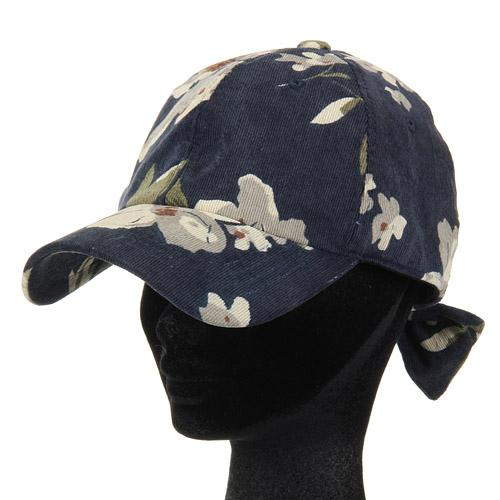 Corduroy Flower Pattern Cap - Navy blue