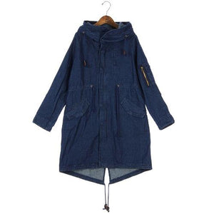 Denim Coat with Hood - Deep Blue