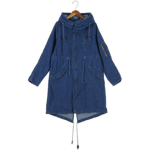 Denim Coat with Hood - Navy Blue