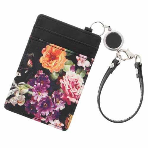 Flower pattern card case - Black