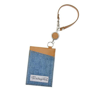 Denim style fabric reel pass case