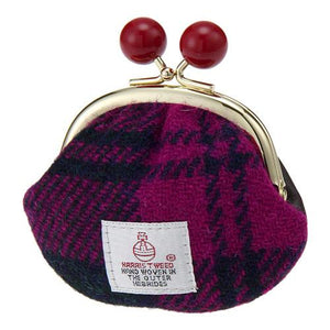 Japan made by Harris Tweed beanbag linnet purse pouch - Pink