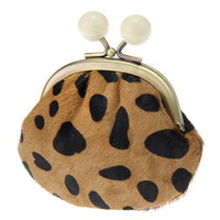 Leather pom pom pouch - Leopard