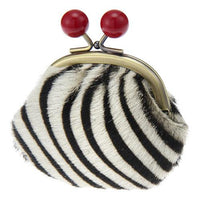 Leather pom pom pouch - Zebra