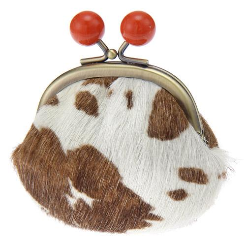 Leather pom pom pouch - cow