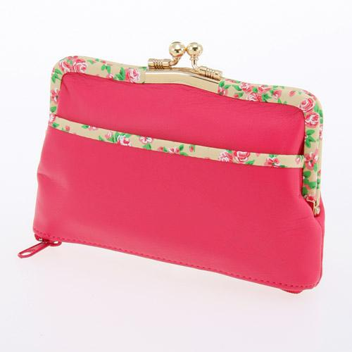 Small rose pattern wallet - Pink x Beige