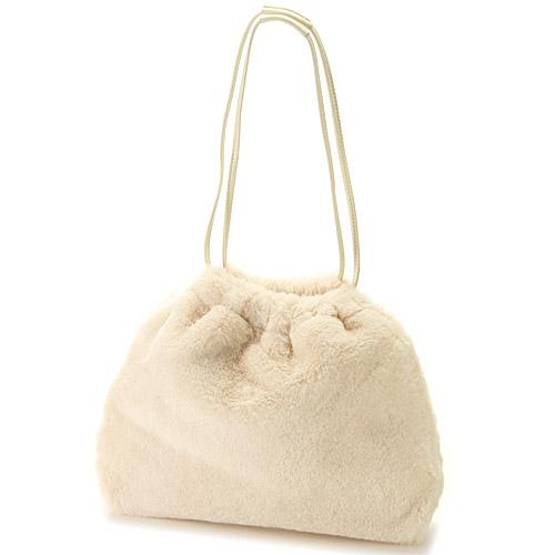 CONFITURE fur tote bag - Off white