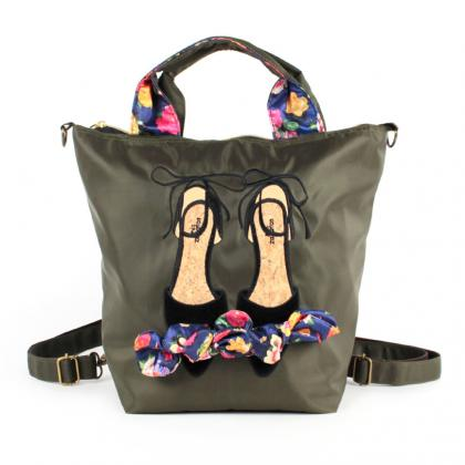 mis zapatos Flower Ribbon 3 Way Backpack - Khaki