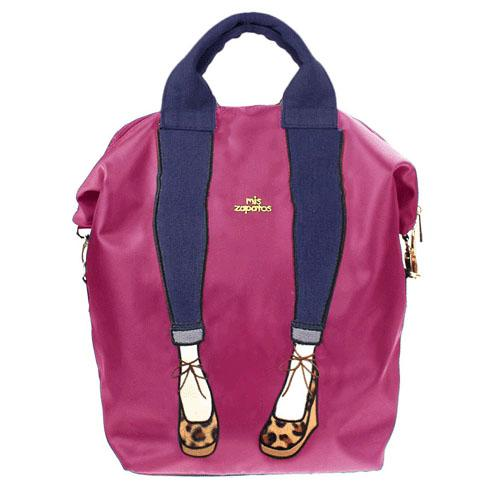 mis zapatos Nylon Skinny 3 Way Backpack - Pink