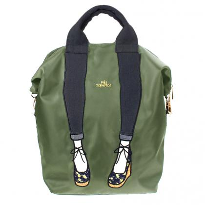mis zapatos Nylon Skinny 3 Way Backpack - Khaki
